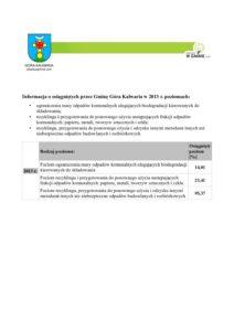 Informacja o osiągniętych poziomach odzysku w 2013 roku