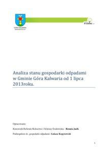 Analiza stanu gospodarki odpadami od 1 lipca 2013 r.