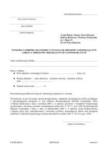 wniosek na odbiór odpadów zawierających azbest