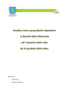 Analiza stanu gospodarki odpadami w 2019 roku