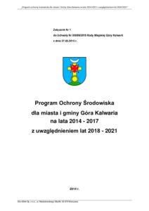Program Ochrony Środowiska dla miasta i gminy Góra Kalwaria na lata 2014 - 2017 z uwzględnieniem lat 2018 - 2021